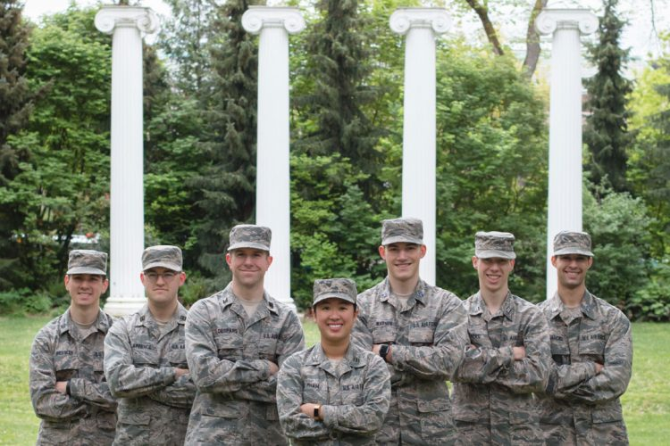 ROTC members in front of the Four Columns in Sylvan Grove.