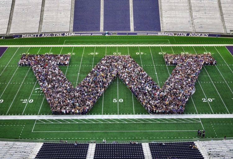 Photo of first-year students in the W on the football field