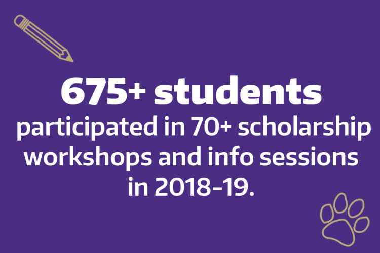 Data: 675+ students participated in 70+ scholarship workshops and info sessions in 2018-19.