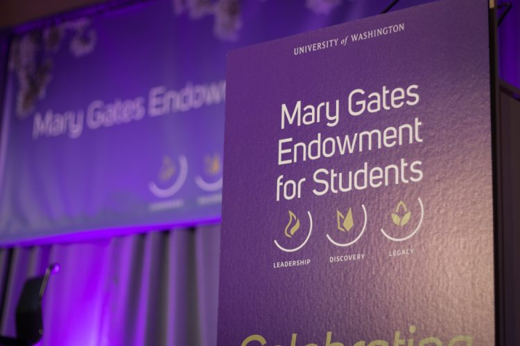 Photo of poster that reads Mary Gates Endowment for Students
