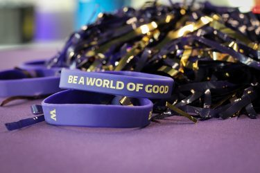 Close up of Be a world of good wristband