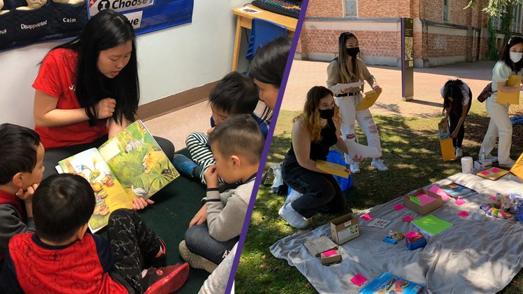 Photo on left of reading circle among preschool studnets. Photo on right of undergraduates preparing activity kits outside during the pandemic.