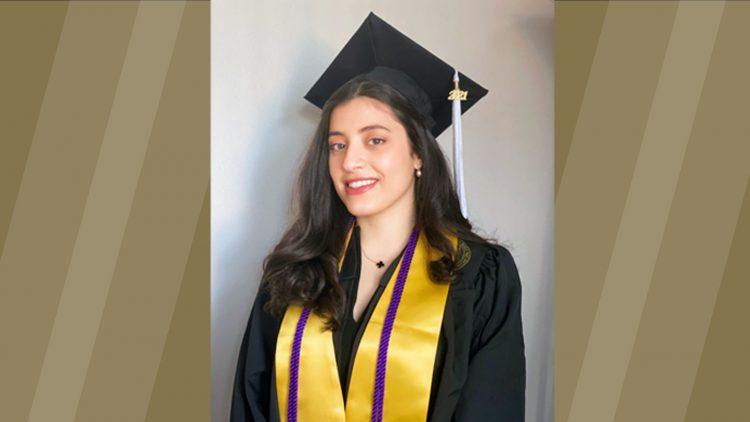 Photo of Maha in graduation attire on gold background