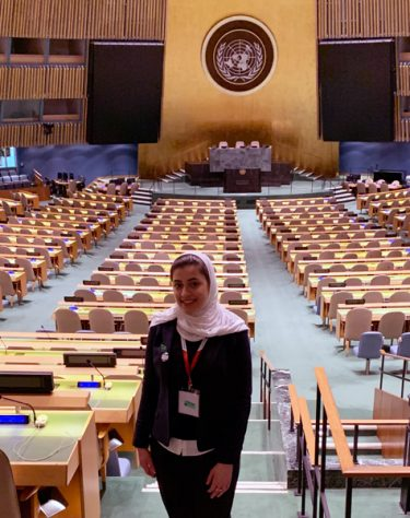 Photo of Maha Alhomoud in the UN General Assembly