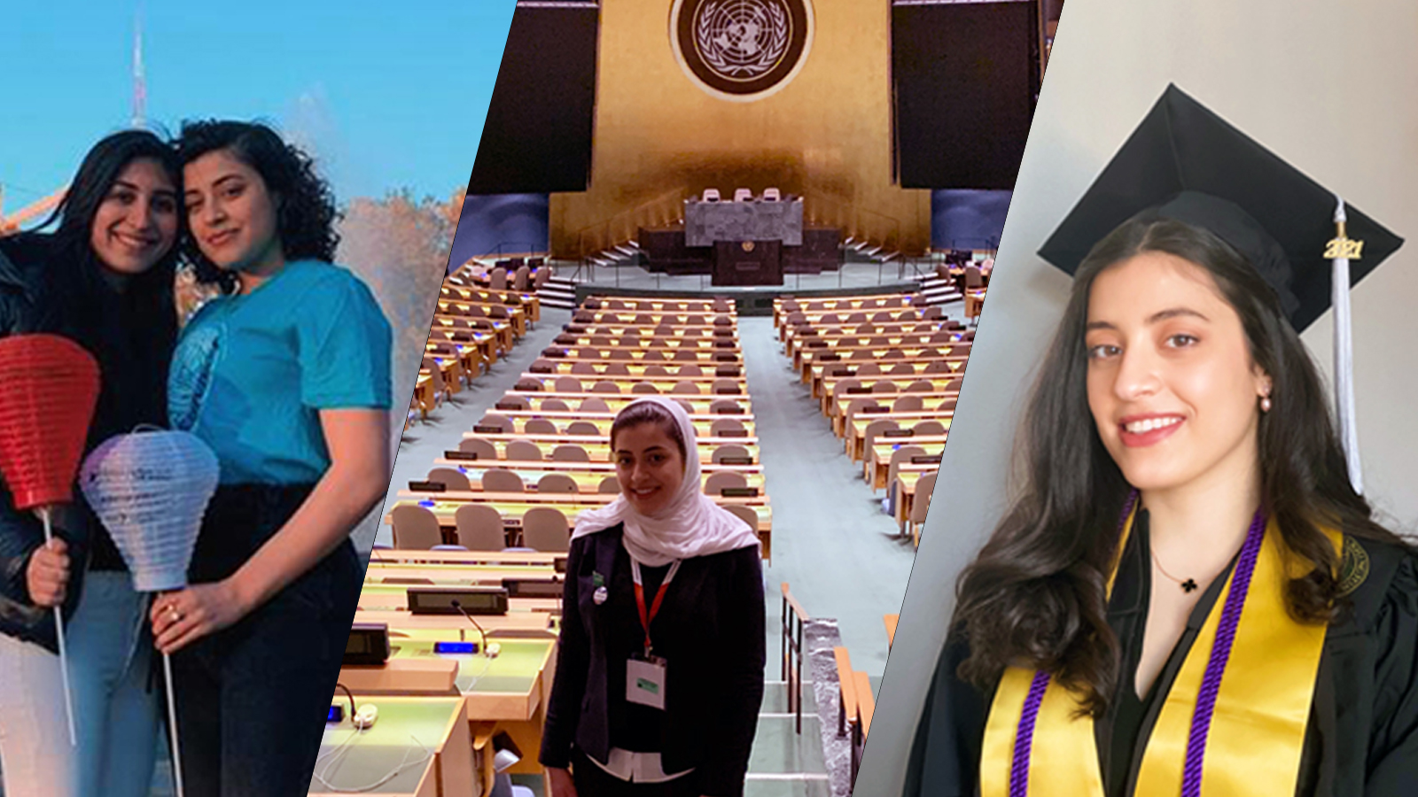 Photo collage of Maha and friend at Light the Night walk, Maha at the UN, and Maha in graduation attire