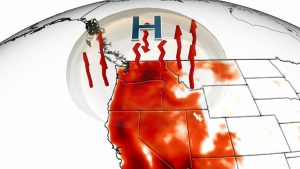 graphic showing map of Pacific NW and extreme heat measurements