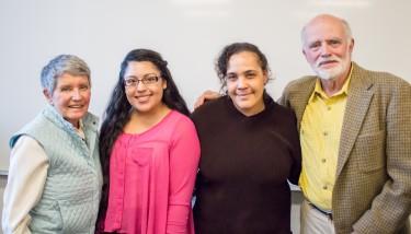Photo of: Jane Carlson Williams, Carlson Civic Fellow Karissa Sanchez, Carlson Civic Fellow Paula Wilson and Gene Carlson.
