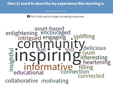 The feedback 'wordle' from the over 100 people who joined us in September of 2017!