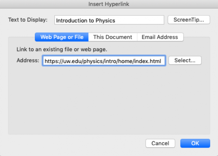 Screenshot of the Insert Hyperlink dialogue box showing text to display and URL address.