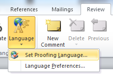 Screen shot of the Language button in Word 2010