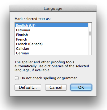 Screen shot of Language dialog in Word 2011