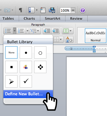 Screen shot of Word lists button with dropdown Bullet Library dialog