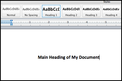 Screen shot of headings buttons in Microsoft Word