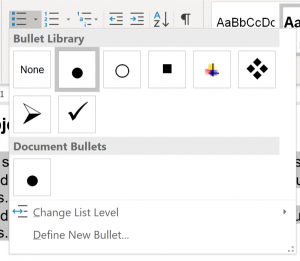 Screenshot showing different options to choose for an unordered (bulleted) list.