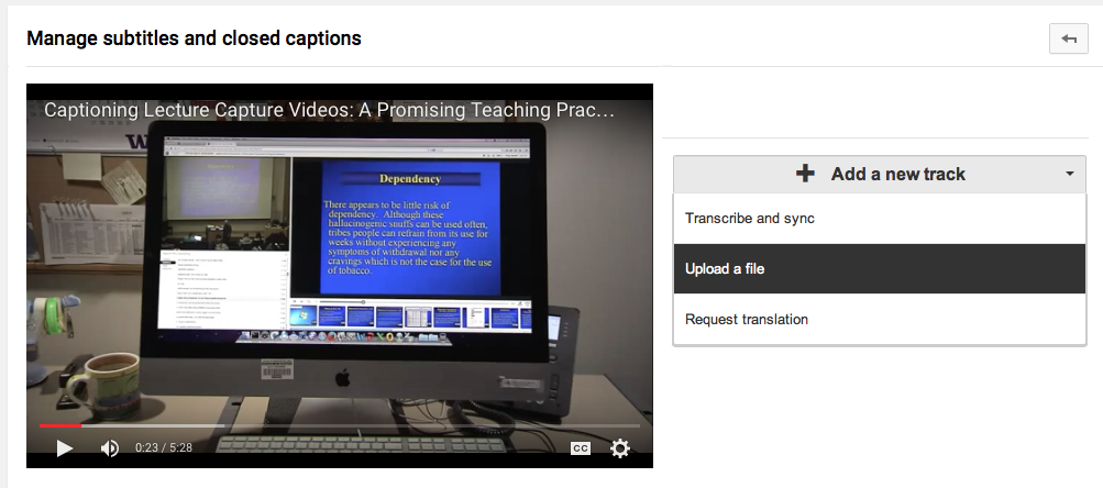 Screen shot from YouTube showing the Add a New Track dialog