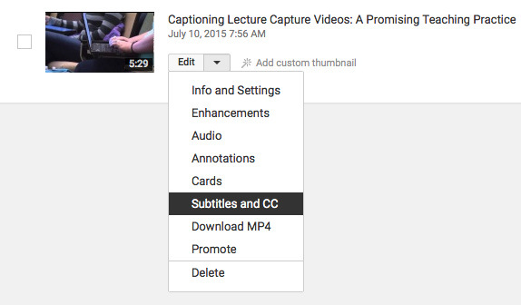Screen shot from YouTube, showing the Edit menu for a video. The Subtitles and CC option is highlighted within the menu.