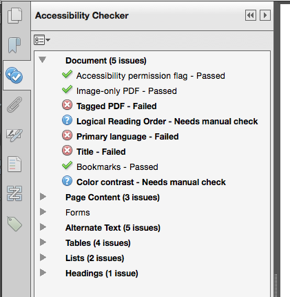 Screen shot of Accessibility Checker report in Acrobat Pro XI