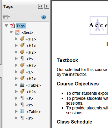 Screen shot of the Tags pane in Acrobat Pro
