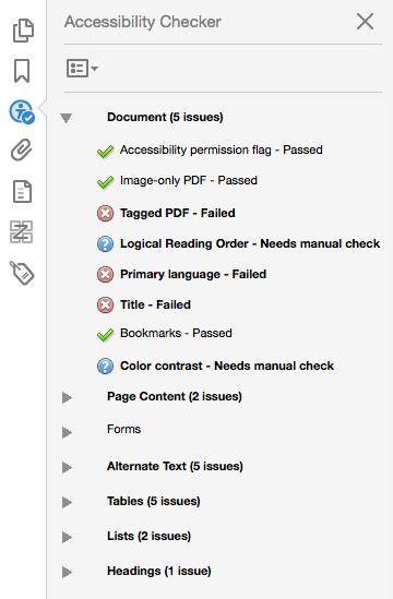 Screenshot showing the results of the Accessibility Checker in Adobe Acrobat Pro
