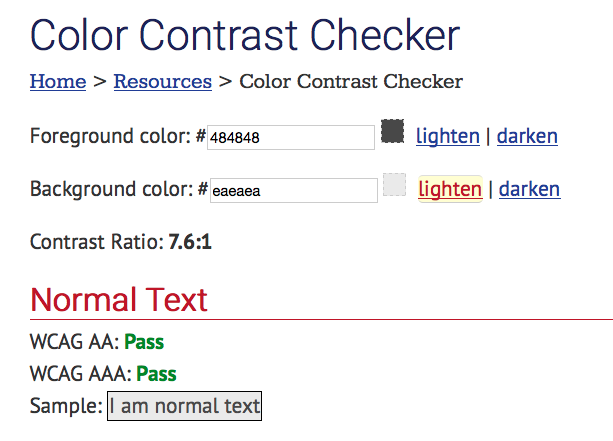 Screen shot of WebAIM Color Checker website