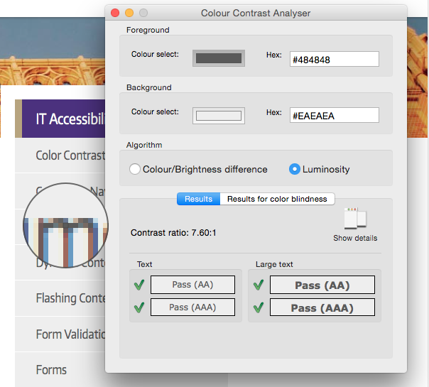 screen shot of Colour Contrast Checker, showing four Pass ratings