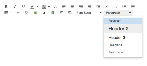 Screen shot of rich text editor in Canvas, with Format dropdown visible, including multiple levels of headings
