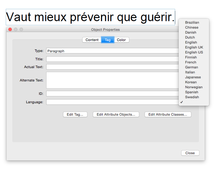 Screen shot of Object Properties dialog, used to change language to French for a selected paragraph that's in French