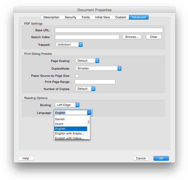 Screen shot of Document Properties dialog, Advanced tab, Language field set to English