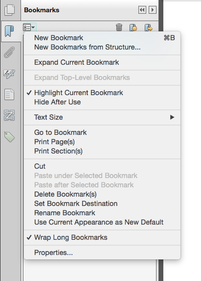 Screen shot of Adobe Acrobat's New Bookmarks menu
