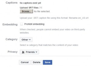 Image of the video edit page which allows the user to add a .srt caption file to the Facebook video.