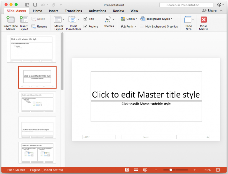 Screen shot of the Slide Master view in PowerPoint.