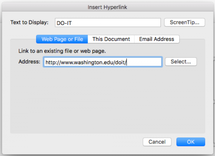 Screen shot of the Insert Hyperlink dialogue box.
