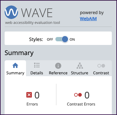 WAVE extension results, showing 0 errors and 0 contrast errors