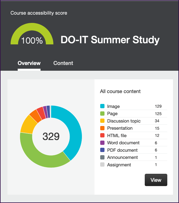 The Accessibility Report in Canvas, showing a perfect score (100%) for DO-IT Summer Study, along with a pie chart showing a breakdown of the course's 329 files types