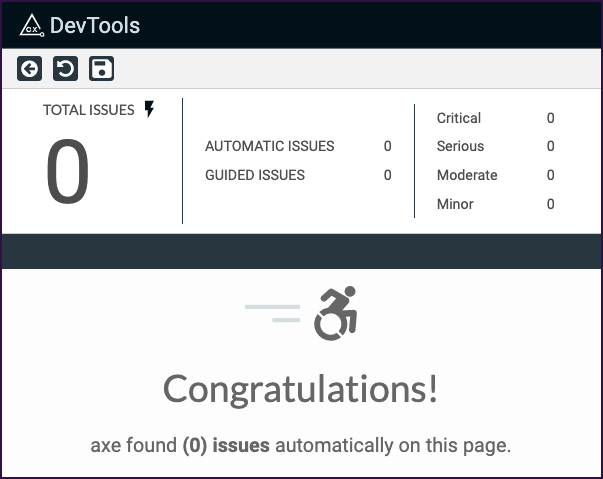 Axe DevTools report showing 0 issues along with a Congratulations! message