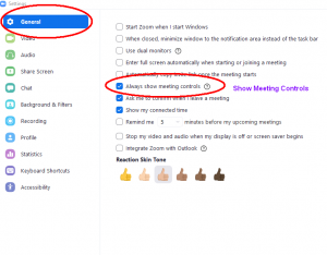 Screenshot of Zoom general settings show meeting controls checkbox checked