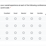 A likert question for rating multiple conferences on a 6-point scale