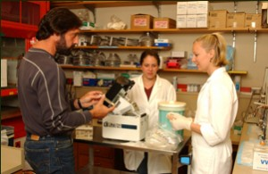 Dr. Wasser, Rebecca and Celia in the lab