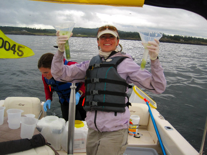 woman holds up a green whale poop in a plastic vial