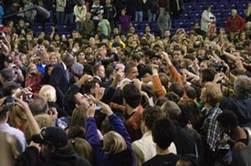 President Obama is mobbed by well-wishers following his speech at the UW's Hec Edmondson Pavilion Thursday, Oct. 21.