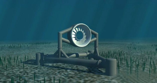 Two 30-foot-wide tidal turbines built by Irish company OpenHydro will be placed underwater in the main entrance to Puget Sound. UW researchers will help monitor environmental effects. Credit: OpenHydro Technology Ltd.