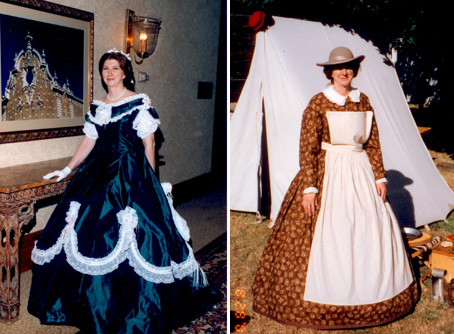 Marjorie Reeves models two of her 1860s dresses--one for everyday and one a ball gown.
