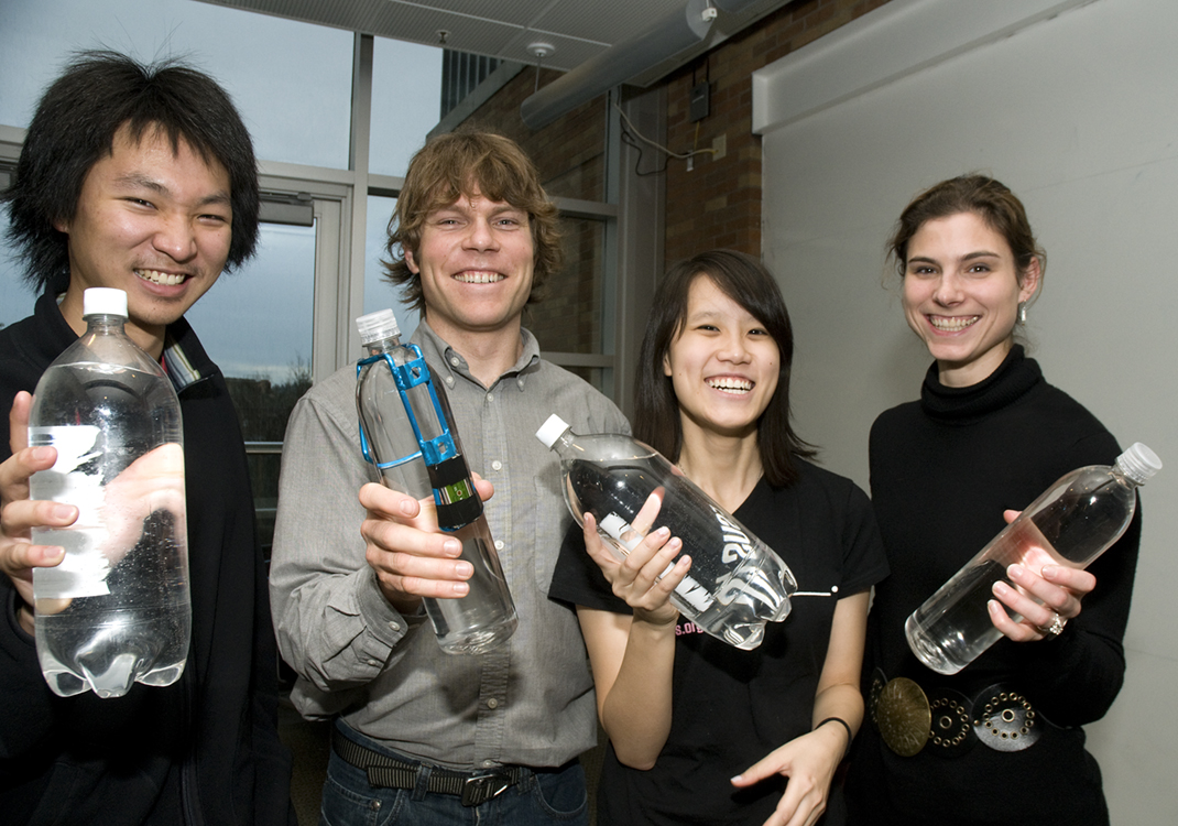 Students Chin Jung Cheng, Charlie Matlack, Penny Huang and Jacqueline Linnes designed a way to know when water left in a plastic water bottle in the sun is safe to drink.