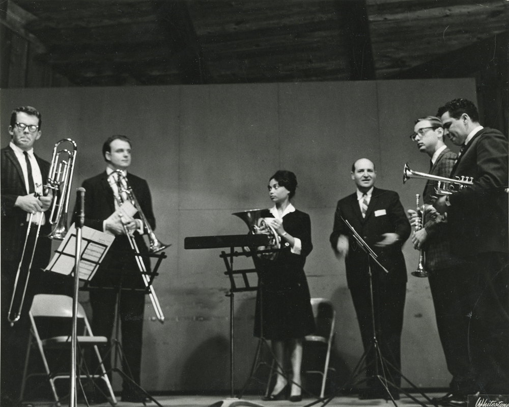 Sutton takes a bow with a brass quintet after a performance at Tanglewood Music Center in Lenox, Mass., the summer of 1963.