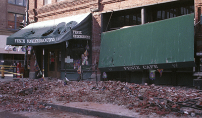 The Fenix Underground in Seattles Pioneer Square neighborhood suffered significant damage from the Nisqually Earthquake in 2001. (Photo credit: Federal Emergency Management Agency)