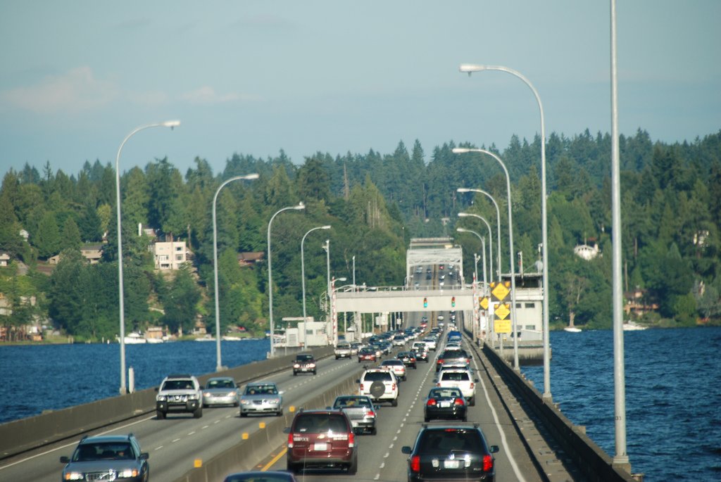 State Road 520 crossing Lake Washington to the Eastside on the Evergreen Point Floating Bridge