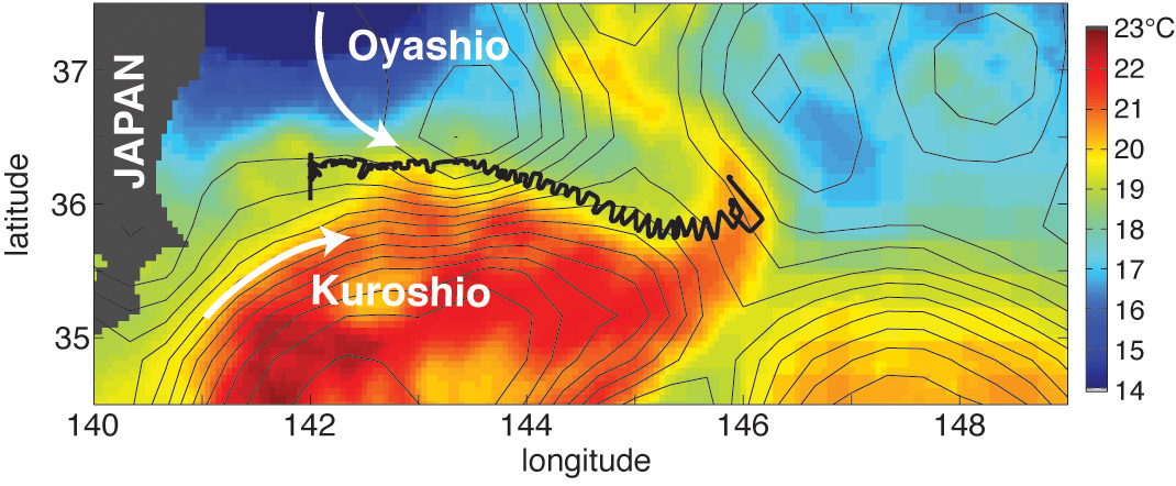 The black line marks the ships position over three weeks as scientists tracked the ever-moving front where the warm Kuroshio meets the cold Oyashio current.