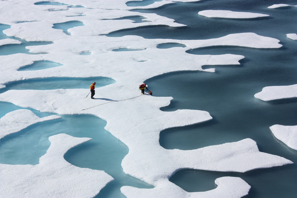 NASA Freshwater ponds appear atop the Arctic ice cap during the summer melt in this image taken on July 12. The NASA-funded Impacts of Climate on Ecosystems and Chemistry of the Arctic Pacific Environment project has been examining the ponds and the ice around them this summer.