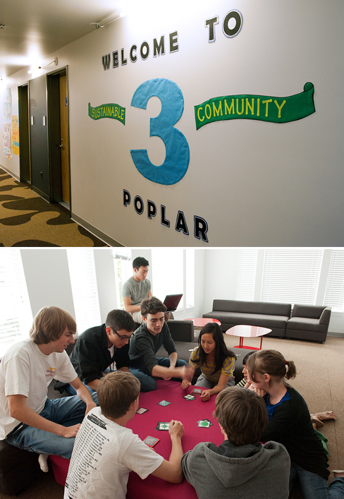 Poplar Hall's third floor is the home of the building's Sustainability Community. At top is the sign on the third floor wall. Below, students relax with a card game in one of the public areas.