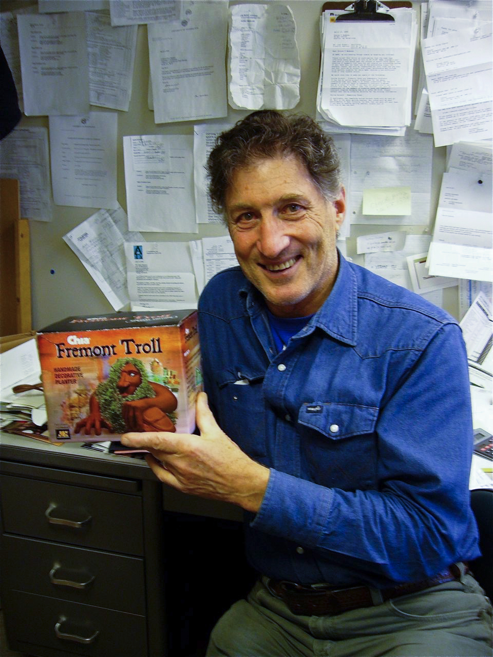 Architecture Professor Steve Badanes with the Chia version of the Fremont Troll he helped design.